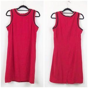 Peter Nygard Red Black Sleeveless Shift Midi Dress